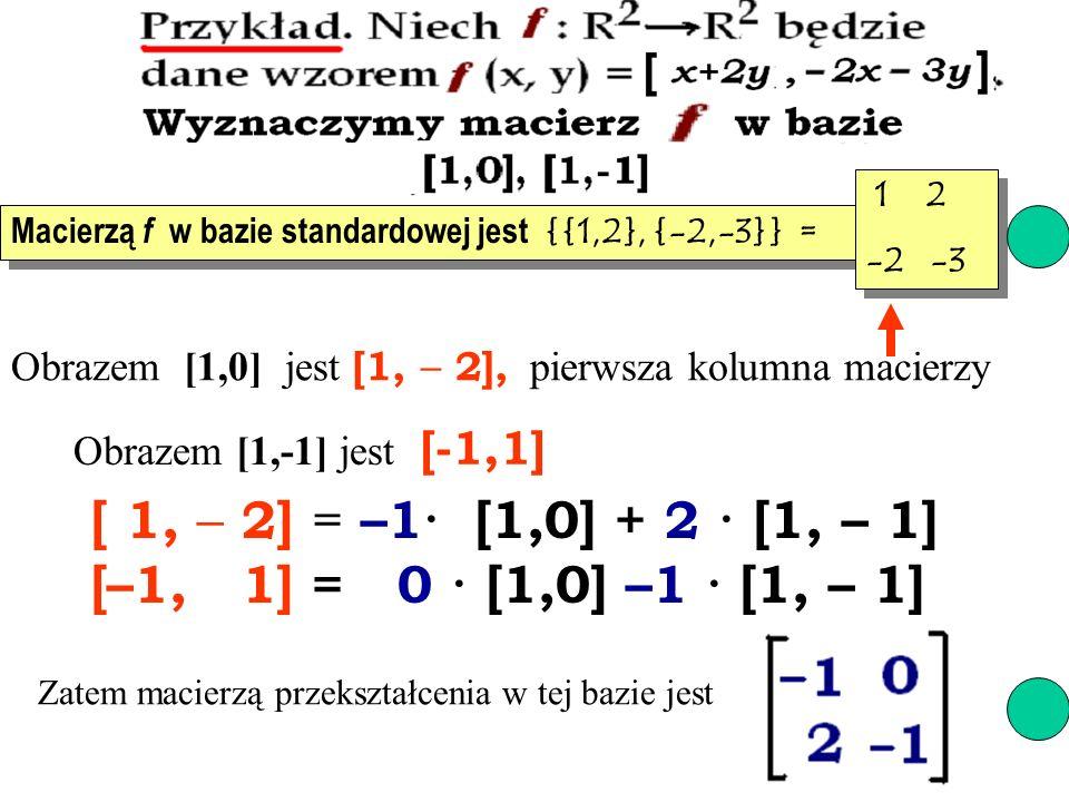 [ 1, – 2] = –1· [1,0] + 2 · [1, – 1] [–1, 1] = 0 · [1,0] –1 · [1, – 1]